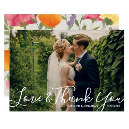Wedding Photo Love & ThankYou Watercolor Flowers Card - wedding thank you gifts cards stamps postcards marriage thankyou