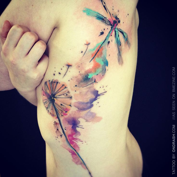 watercolor dragonfly and dandelion tattoo