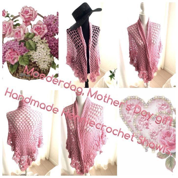 Gehaakte, zomer, sjaal in roze, huwelijk,moederdag cadeau