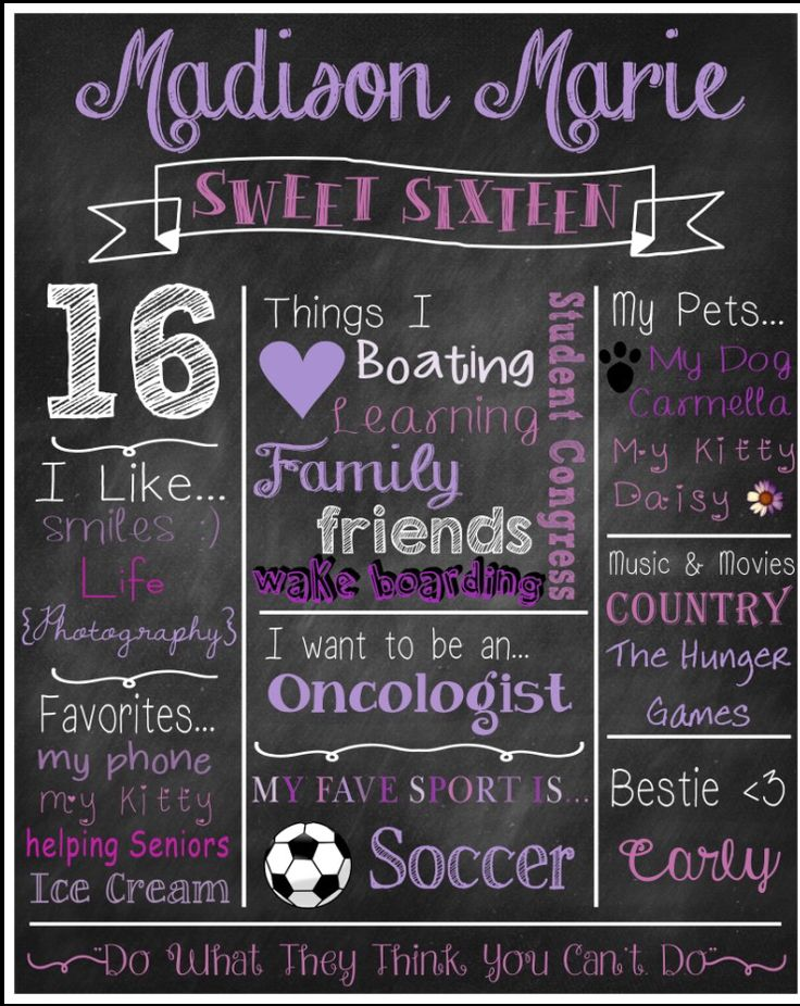 Purple Sweet Sixteen (16) themed chalkboard poster print. $15 digital download. $20 printed. We ship.