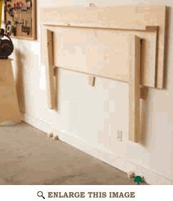 Folding Work Bench Woodworking Plan, Shop Project Plan   WOOD Store/// i have an Old door as my work bench now to modify so it folds up like this.. Yep gonna do this