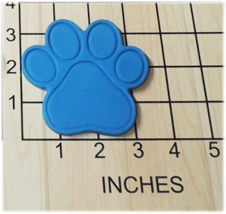 Paw Print Shaped Fondant Cookie Cutter and Stamp #1158. Paw Print Cookie Cutter and Stamp. This 3d printed plastic cutter makes the shape of a paw print. Perfect for your pups biscuits. Some uses for this cutter are cookie dough, play doh, or fondant. In this offer includes a stamp the stamp will be made as a separate piece to accommodate any thickness of dough. Actual measurements can be seen in photo. Color of plastic will vary according to availability and may be different than shown....