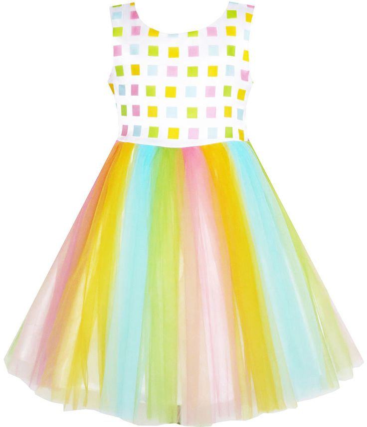 Flower Girl Dress Tulle Overlay Rainbow Party Wedding Pageant Size 2-6 Formal…