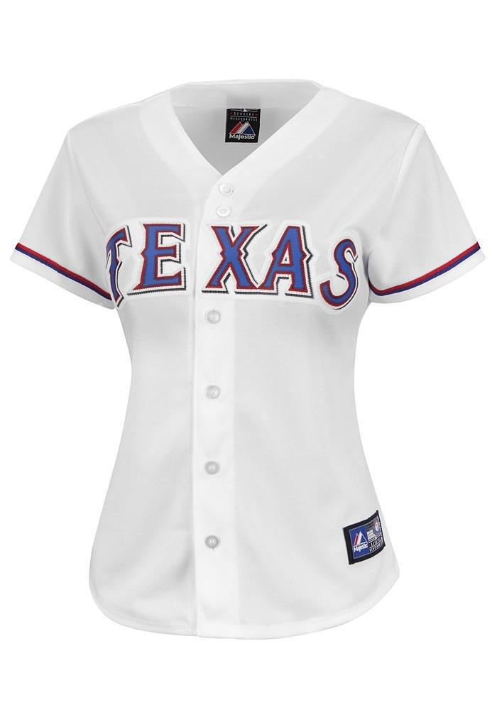 Texas Rangers Women's White Jersey http://www.rallyhouse.com/shop/texas-rangers-majestic-texas-rangers-womens-white-jersey-1725057?utm_source=pinterest&utm_medium=social&utm_campaign=Pinterest-TexasRangers $64.99