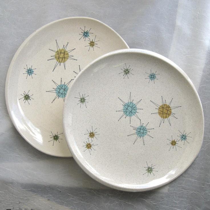 1950s Dishes: Set Of Two Fraciscan Atomic Starburst Dinner Plates