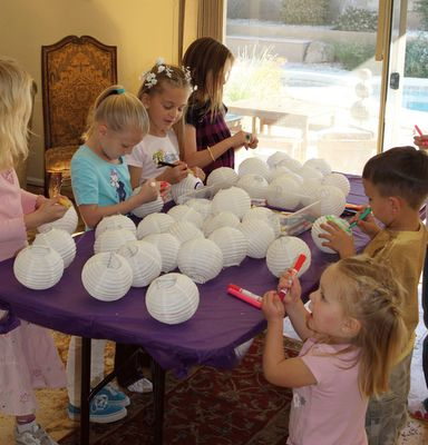 A great craft idea for the party would be to have the children decorate lanterns.