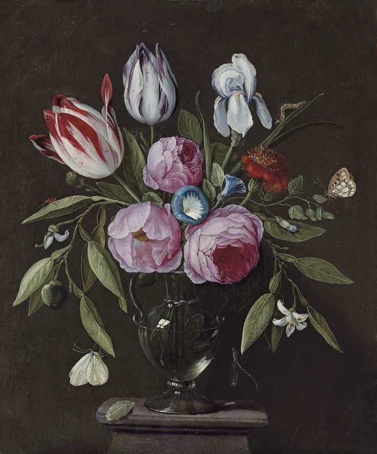 Jan van Kessel de Oude - Jan van Kessel the Elder. Title Roses, tulips, an iris and other flowers, in a glass vase on a stone plinth, with butterflies and other insects.