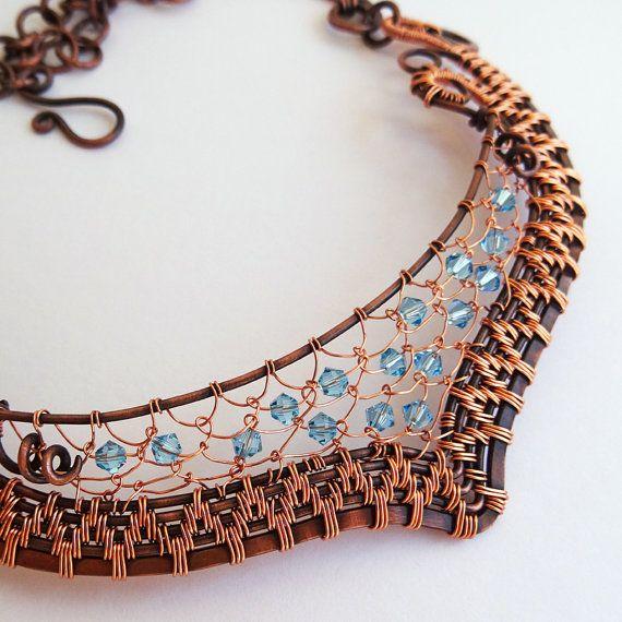 Fabulous Woven Copper & Crystal Collar Aqua OOAK Statement Necklace Netting