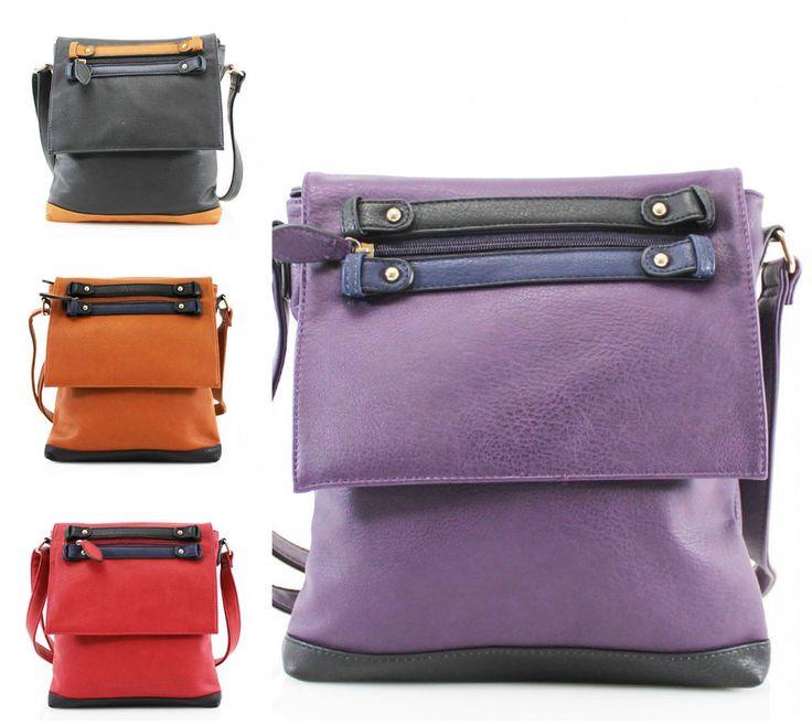 Ladies Double Stripe Cross Body Bag Women Girls Shoulder Hand Bag Casual Bags