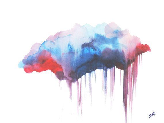 Art Print Cloud aquarel, Canvas kunst natuur geïnspireerd, aquarel kunst, Cloud kunst, regen wolk, moderne kunst, Wall Decor