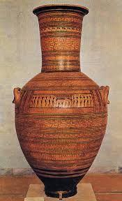 """Anfora funeraria detta """"del lamento funebre"""", ritrovata nella necropoli del Dyplon di Atene, ca 760-750 a.C. Terracotta dipinta a figure nere, altezza 155 cm. Atene, Museo Nazionale."""