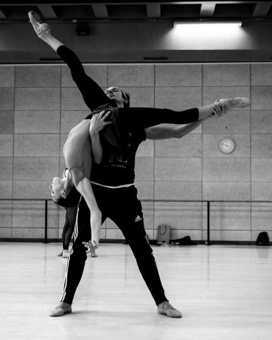"Olga Smirnova and Semyon Chudin rehearsing ""La Belle"" by Jean-Christophe Mailliot with Les Ballets de Monte Carlo Photo by Alice Blangero Dance Photography"