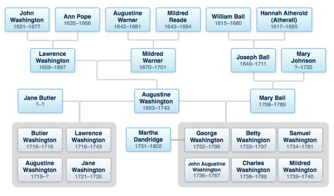 I share common ancestors with Washington. There are no ancestors of mine who come through siblings or cousins. George Washington Family Tree No, you're not decended from George Washington..but you might be related can you connect to this tree? Lots of folks can.