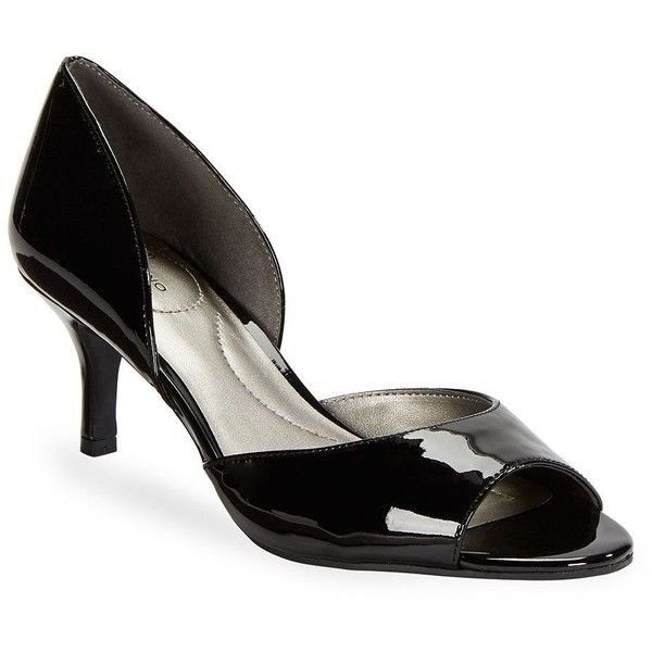 Bandolino Women's Nubilla Patent Open Toe Heels ($30) ❤ liked on Polyvore featuring shoes, pumps, black, black kitten heel pumps, slip-on shoes, black shoes, kitten heel pumps and black patent shoes