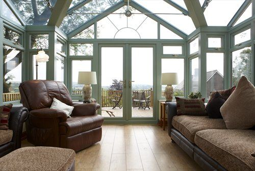 Rehau chartwell green upvc conservatory interior it 39 s for Conservatory doors exterior