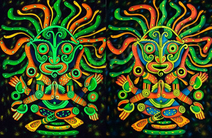 Handmade picture of a totem. Picture size c. 94 x 73 cm (37 x 29 in). Glows in UV light.