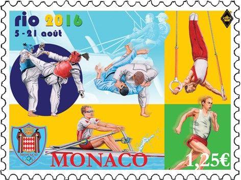 Rio 2016 Olympic stamp Monaco