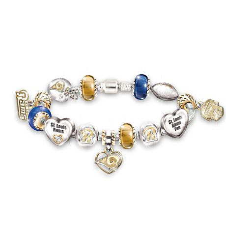 St. Louis Rams Charm Bracelet With Swarovski Crystals. Jewelry and football... perfect combination!