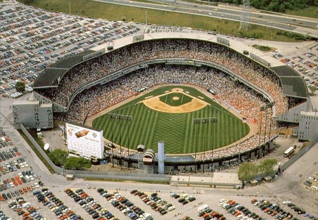 Milwaukee County Stadium, where the Brewers played from 1970 through 2000. In March 1974, a friend and I snuck into the stadium, ran across home plate, stood on the pitcher's mound, walked around the infield, and also made our way onto the stadium roof.