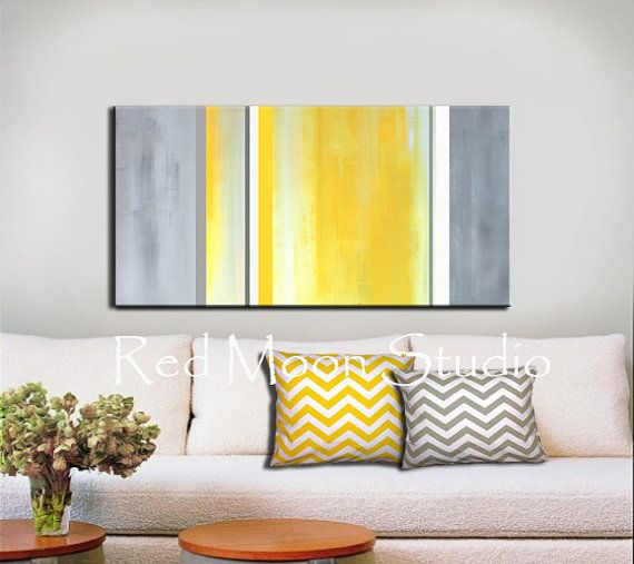 Abstrait Art jaune peinture gris gris - 48 x 24 grand - Original Abstract Painting en jaune & gris gris