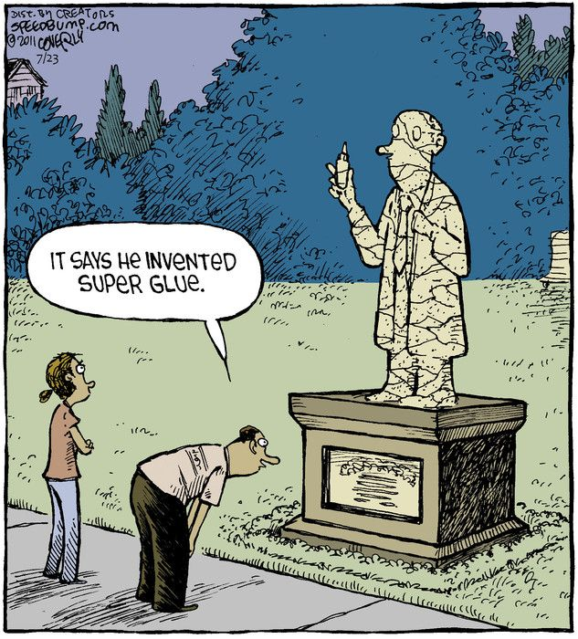 """""""It says he invented super glue."""" Much funny. Very humor"""