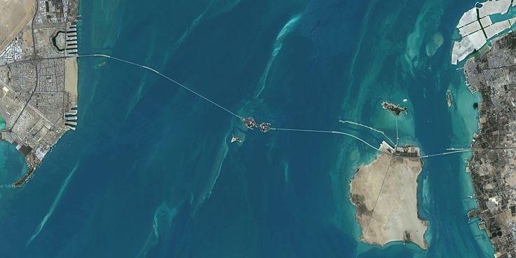 King Fahd Causeway, between Saudi Arabia and Bahrain - PlanetSAT satellite image.