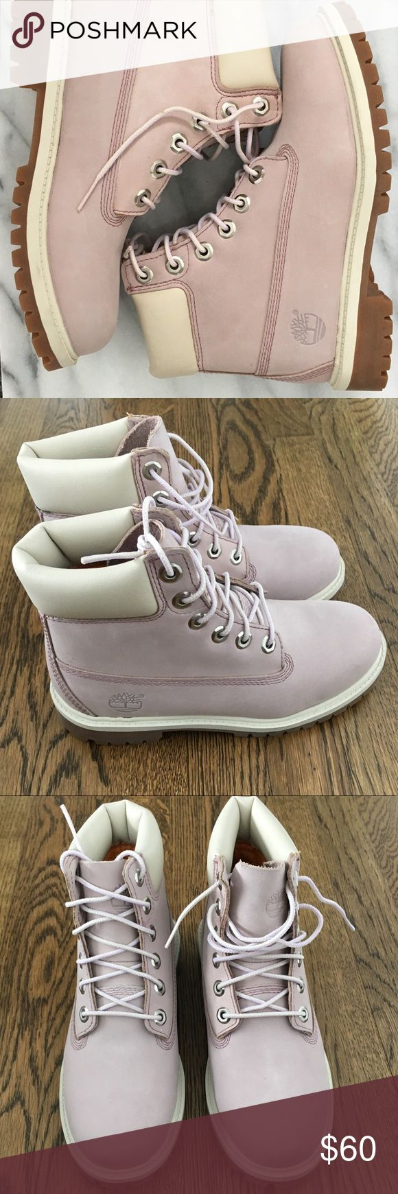 "🌸 Timberland 6"" classic boots in pale pink 🌸 Beautiful, classic Timberland 6"" boots in pretty pale pink color. NWOT or box but never worn, still with the shoe filler inside. This is JUNIORS size 4 and women's US size 5.5, EU 36. If you like the item but not the price, feel free to make an offer ☺️ No lowball offers please. Timberland Shoes Combat & Moto Boots"