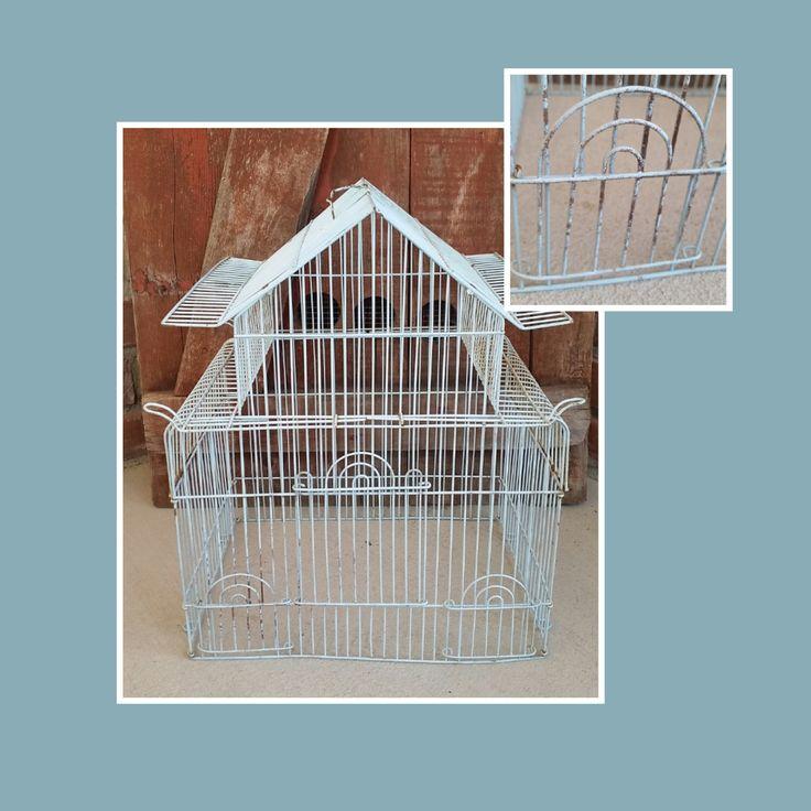 Vintage Baby Blue Metal Wire Cottage Chic Birdcage. Display case, bird cage, yard art, garden decor, birdcage decor, rustic cage, blue cage by LoveTheJunk on Etsy