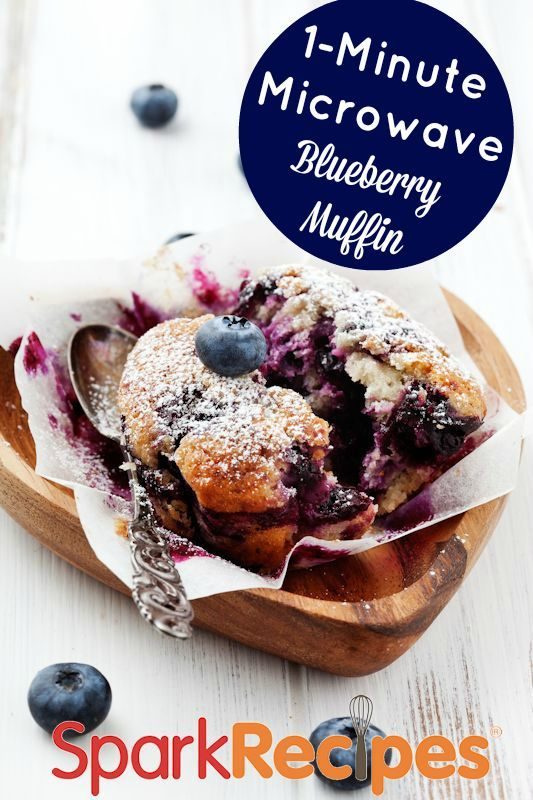 Blueberry Flax Microwave Muffin. Very yummy and the flax gives it a nutty taste. I didn't miss the flour at all!| via @SparkPeople #muffin #breakfast #recipe