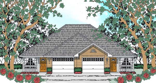Elevation Of Traditional Multi Family Plan 75050 Duplex