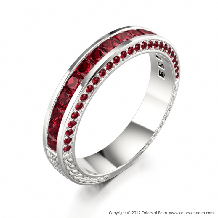 """Ruby Band in White Gold - """"Triumph""""Jewelry Art, Ruby Red, Wedding Bands, White Gold, Bling Bl, Ruby Band, Plum Birthstone, Hello Ruby, Bling Jewelry"""