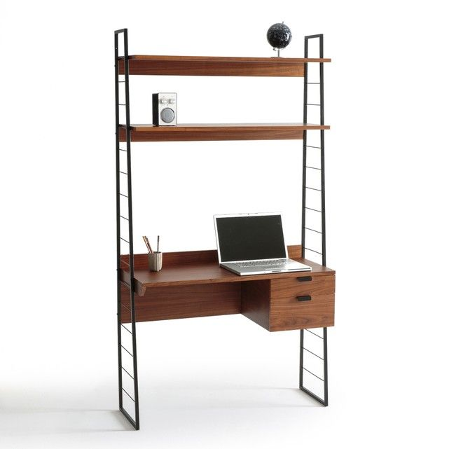 A vintage-inspired piece, made with richly coloured walnut wood.Add a touch of class to your workspace with this space-saving, retro desk. Cleverly designed with 2 shelves above the desk for storing books and files, as well as 2 side drawers for keeping your papers tidy. It's perfect for both storage and working, when space is at a premium. The ladder frame design and sleek black handles give a modern take on a classic design, while the dark wood firmly calls out quality. Make it the stylish…