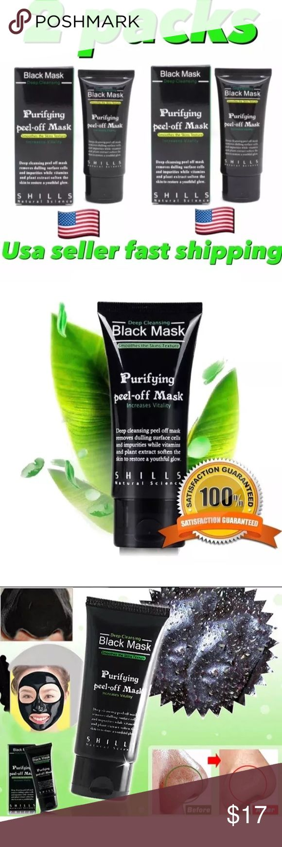 2PACK OF DEEP BLACKHEAD REMOVER FACIAL Purifying peel-off Mask, facial blackheads remover    Deep cleansing peel off mask removes dulling surface cells and impurities while vitamins and plans extract soften the skin to restore a youthful glove .     Apply.  Apply as a mask on dry, cleaned area. Avoid eyes, eyebrows, lips. Peel it off after 20 minutes. Other