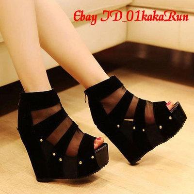 Free P P Womens Open Toe Shoes Platform Wedge High Heels Clear Zip