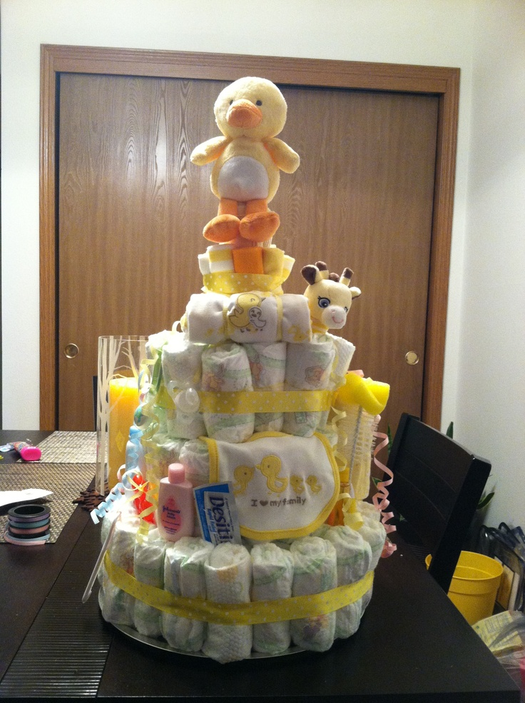 Diaper cake.. Hope they like it just as much as I do!!! We'll find out tomorrow.: Creative Crafts, Diapers Cakes