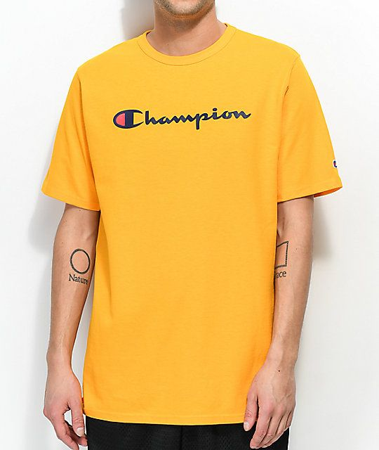 190d06f33 Champion Embroidered Script Gold T-Shirt in 2019 | Logos | Champion  clothing mens, Gold t shirts, Champion clothing
