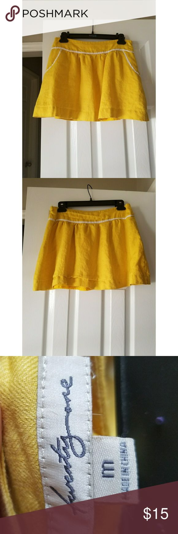 Forever 21 Skirt with Pockets Adorable yellow linen-style skirt with white trim and yellow pockets.  Great condition. Forever 21 Skirts Mini