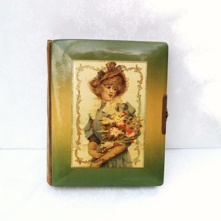 Antique Photo Album  Antique Celluloid  Victorian Decor  Photography  Photo Book  Gibson Girl Glamour Lady