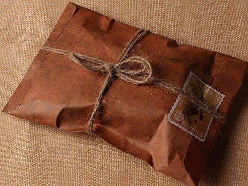 50pz Buste da lettera formato 16*11cm ,110 g/mq, Carta kraft, Carattera antichi…