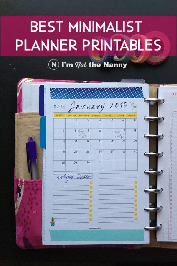 graphic regarding Discbound Planner Printables named Most straightforward Minimalist Planner Printables for Discbound Ring