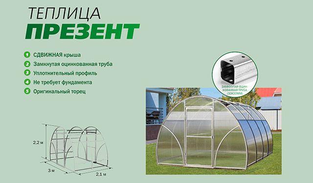 Теплица Презент, из поликарбоната, идеальный вариант для вашего хозяйства. Купить теплицу из поликарбоната от производителя. Ростовская область