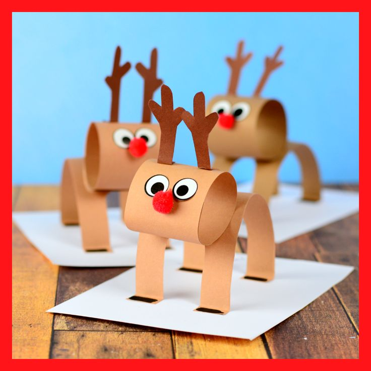 3D Construction Paper Reindeer – Christmas Craft Idea with Template