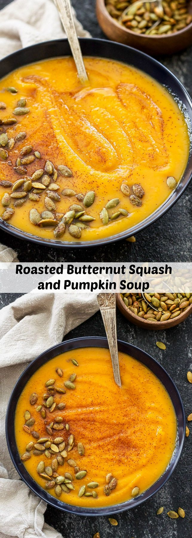 Roasted Butternut Squash and Pumpkin Soup | This thick and creamy fall soup has the perfect balance of sweet and savory flavors! Gluten free, vegan and paleo.