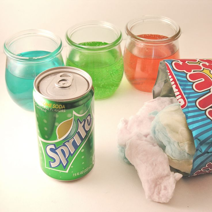 Cotton Candy Fizz- Pour Sprite into a clear glass or cup (about 2/3 full). Drop a piece of cotton candy into the Sprite and smile as it fizzes and turned your Sprite colors. Combine colors to make your soda unique!~Great idea for a fun kids party (or even grown-up party)