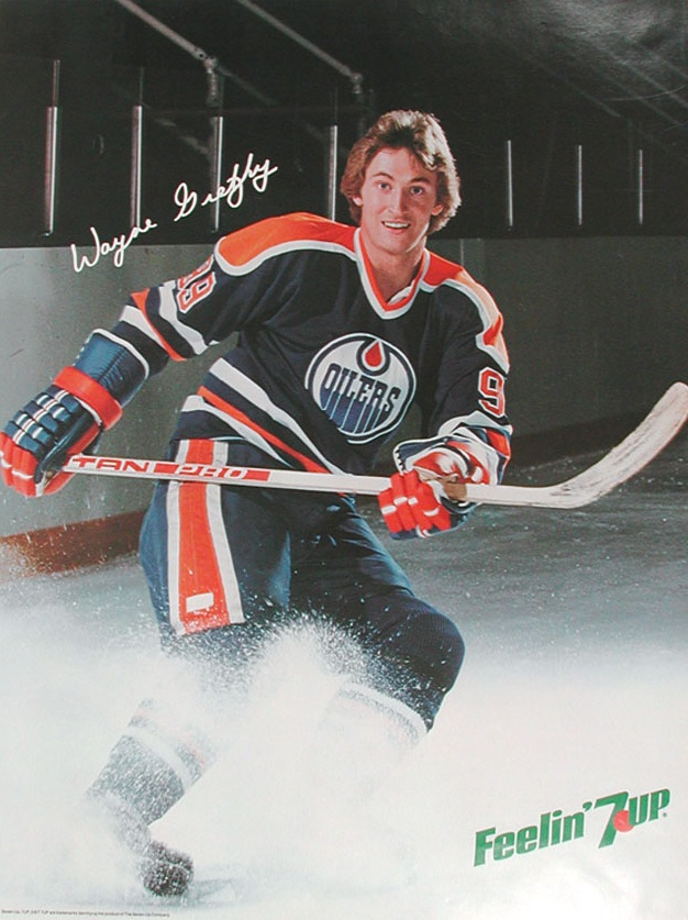 Retro Wayne Gretzky 7UP advertisement poster from the early-1980s | Edmonton Oilers | NHL | Hockey