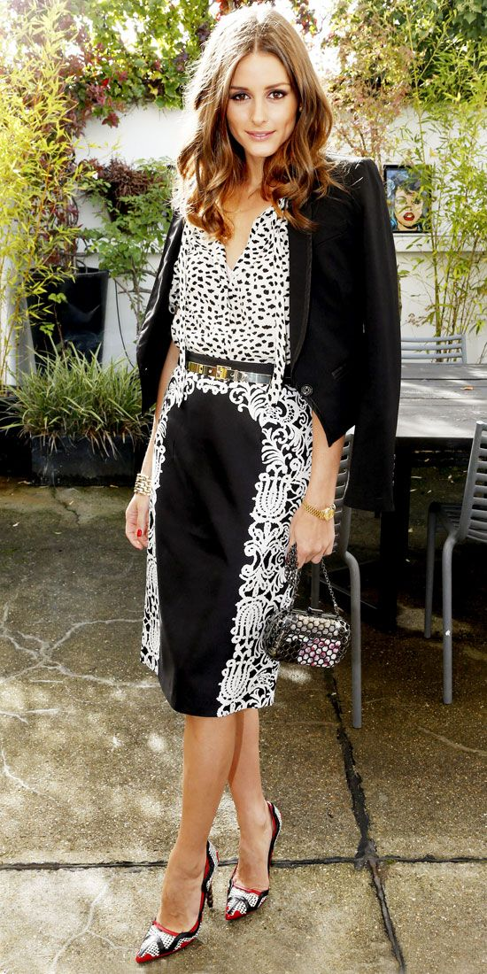 Palermo dined at a Montblanc lunch in a black and white ensemble, including a printed blouse and leather pumps.