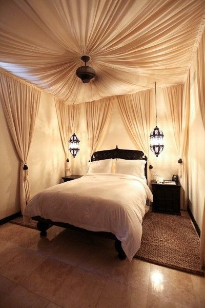 I love the curtain idea in the bedroom.. gotta be fireproof though