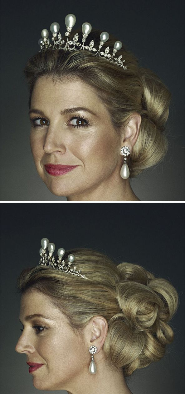 Antique pearl and diamond tiara worn by Queen Maxima