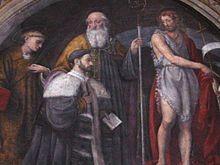 Particolare dell'affresco della tramezza di S. Maurizio al monastero maggiore