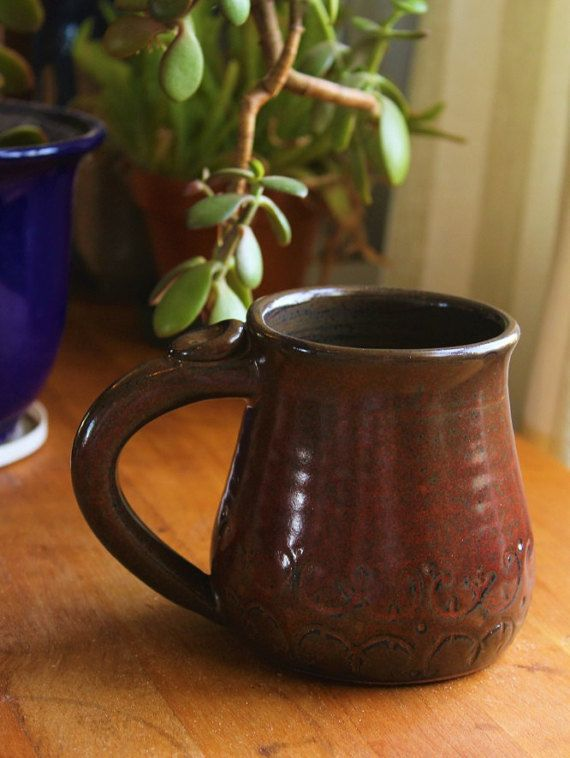 Check out this item in my Etsy shop https://www.etsy.com/ca/listing/497669282/red-and-brown-mug-red-mug-16-oz-mug